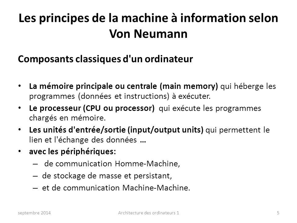 Les principes de la machine à information selon Von Neumann septembre 2014Architecture des ordinateurs 15 Composants classiques d'un ordinateur La mém