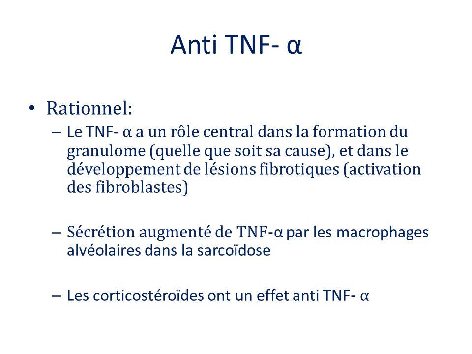 Anti TNF- α Rationnel: – Le TNF- α a un rôle central dans la formation du granulome (quelle que soit sa cause), et dans le développement de lésions fi