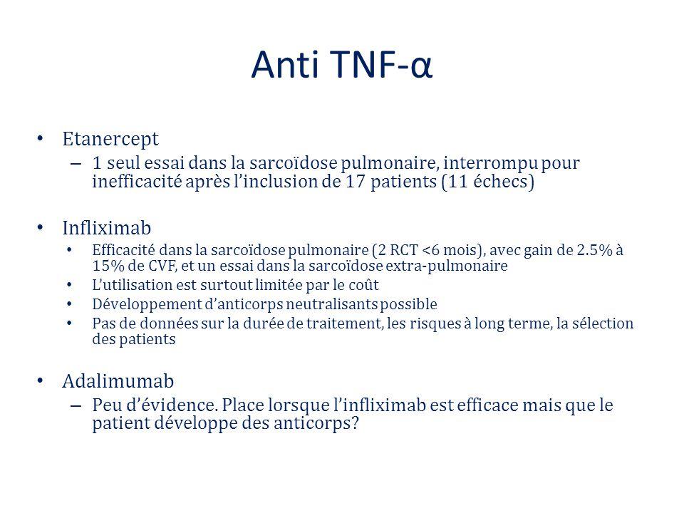 Anti TNF-α Etanercept – 1 seul essai dans la sarcoïdose pulmonaire, interrompu pour inefficacité après l'inclusion de 17 patients (11 échecs) Inflixim