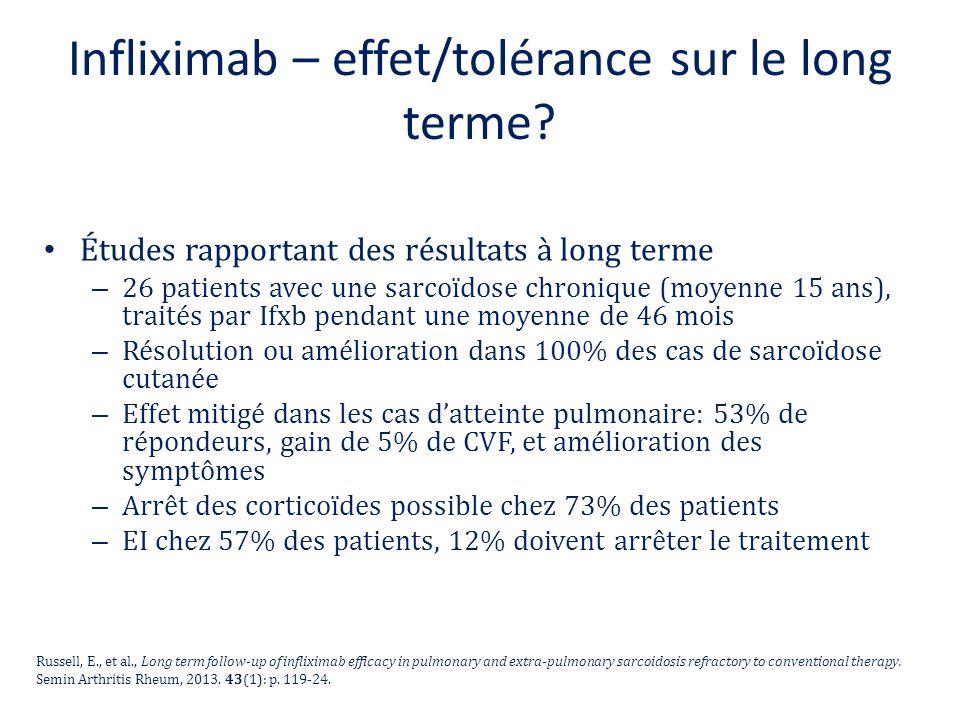Infliximab – effet/tolérance sur le long terme? Études rapportant des résultats à long terme – 26 patients avec une sarcoïdose chronique (moyenne 15 a
