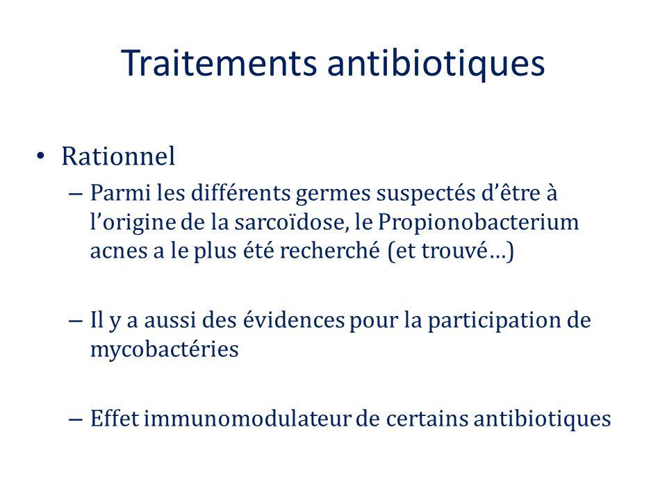 Traitements antibiotiques Rationnel – Parmi les différents germes suspectés d'être à l'origine de la sarcoïdose, le Propionobacterium acnes a le plus