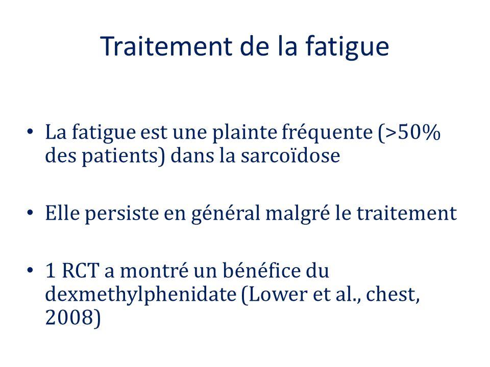 Traitement de la fatigue La fatigue est une plainte fréquente (>50% des patients) dans la sarcoïdose Elle persiste en général malgré le traitement 1 R