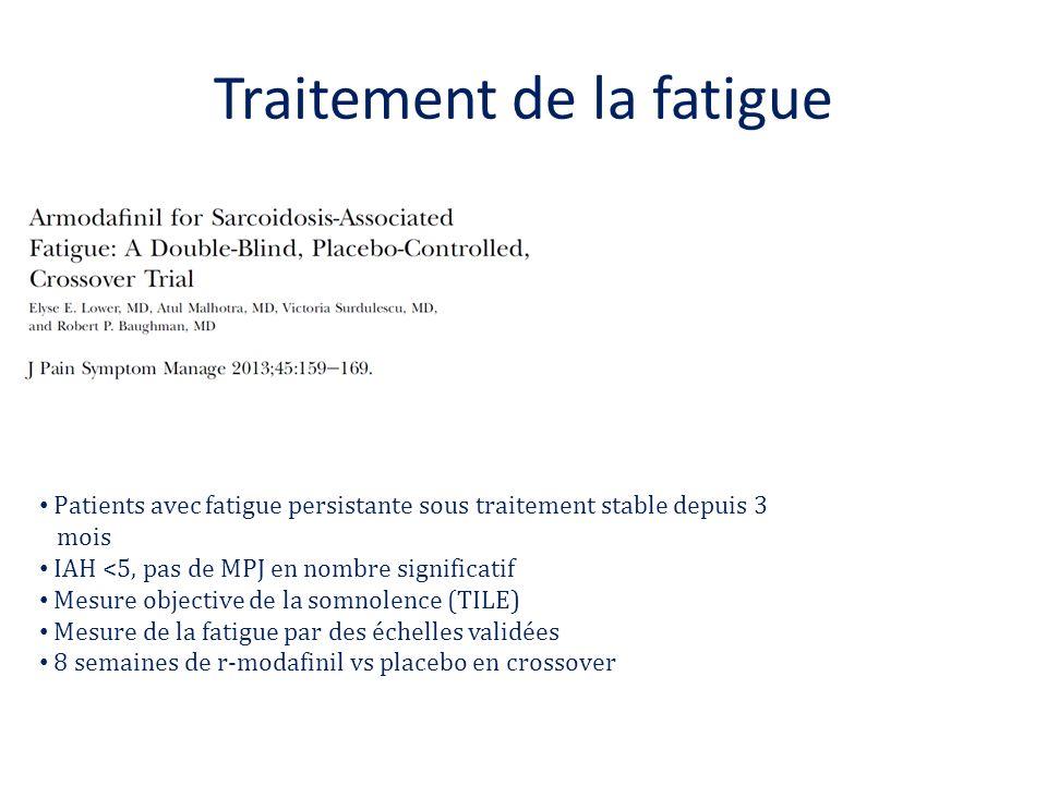 Traitement de la fatigue Patients avec fatigue persistante sous traitement stable depuis 3 mois IAH <5, pas de MPJ en nombre significatif Mesure objec