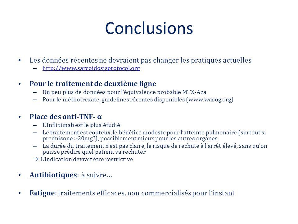 Conclusions Les données récentes ne devraient pas changer les pratiques actuelles – http://www.sarcoidosisprotocol.org http://www.sarcoidosisprotocol.