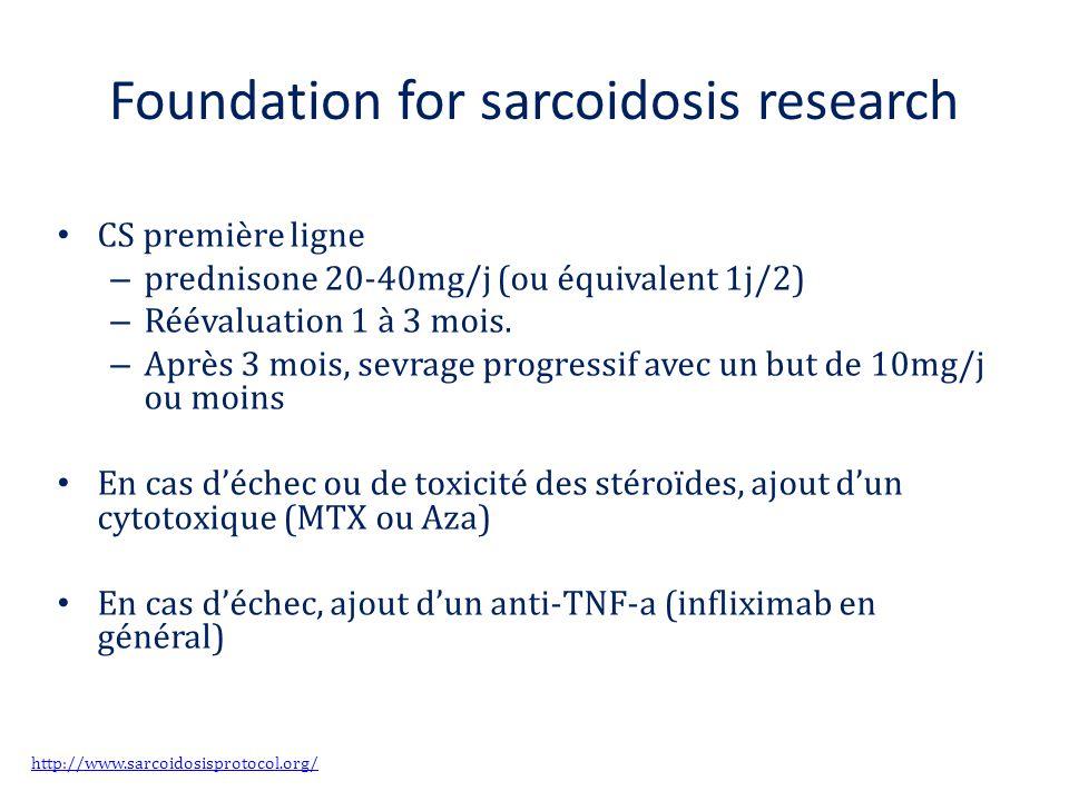 Foundation for sarcoidosis research CS première ligne – prednisone 20-40mg/j (ou équivalent 1j/2) – Réévaluation 1 à 3 mois. – Après 3 mois, sevrage p