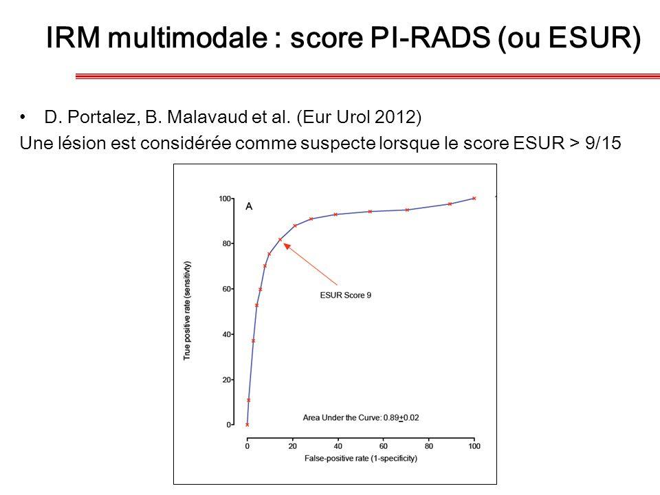 IRM multimodale : score PI-RADS (ou ESUR) D. Portalez, B. Malavaud et al. (Eur Urol 2012) Une lésion est considérée comme suspecte lorsque le score ES