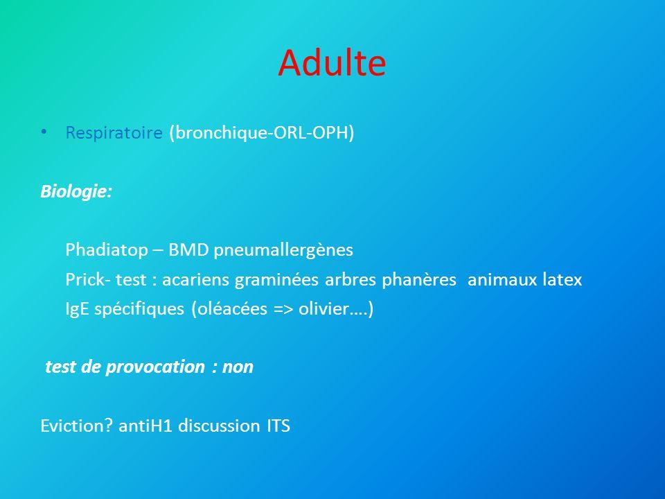 Adulte Cutané: Eczéma : Prick-tests Patch test (batterie européenne) Pas de photopatchtest Pas de batterie coiffure Urticaire : 10% d'origine allergique Prick-tests aéroallergènes et alimentaire Colorants et conservateurs non testés (CHU)