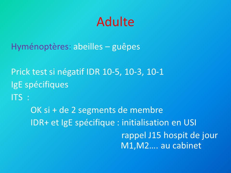 Adulte Médicamenteux: Intolérance+++++ <2 mois réintroduction possible (sidération) Prick test IDR (si injectable) IgE spécifiques : valeur.