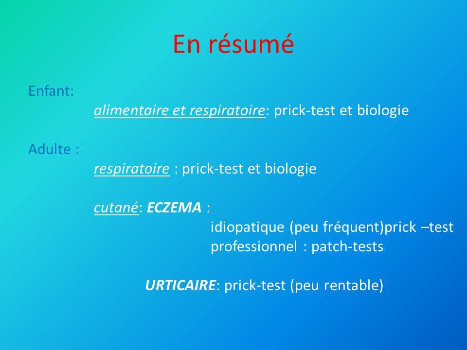 En résumé Hyménoptères : prick-test – IDR – IgE spécifiques Médicamenteux : Prick – patch – IDR - IgE spécifiques Réintroduction : CHU si signe de gravité et/ou produit indispensable