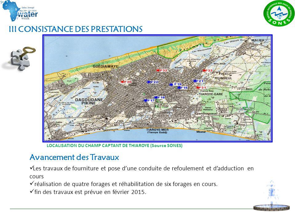 LOCALISATION DU CHAMP CAPTANT DE THIAROYE (Source SONES) III CONSISTANCE DES PRESTATIONS Avancement des Travaux Les travaux de fourniture et pose d'un