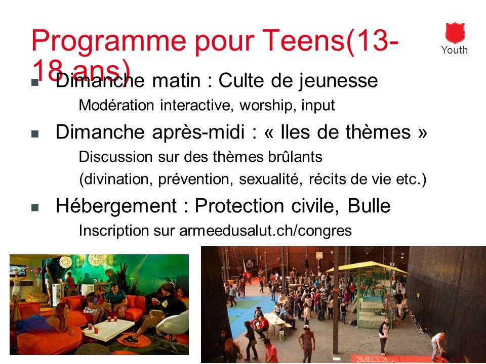 Youth salvy.ch Programme pour Teens(13- 18 ans) Dimanche matin : Culte de jeunesse Modération interactive, worship, input Dimanche après-midi : « Iles