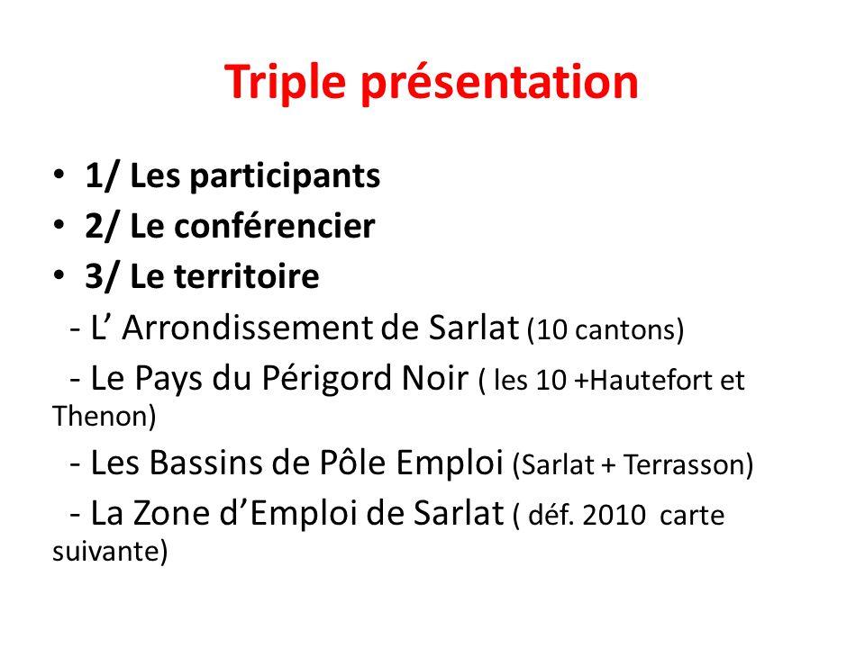 Triple présentation 1/ Les participants 2/ Le conférencier 3/ Le territoire - L' Arrondissement de Sarlat (10 cantons) - Le Pays du Périgord Noir ( les 10 +Hautefort et Thenon) - Les Bassins de Pôle Emploi (Sarlat + Terrasson) - La Zone d'Emploi de Sarlat ( déf.