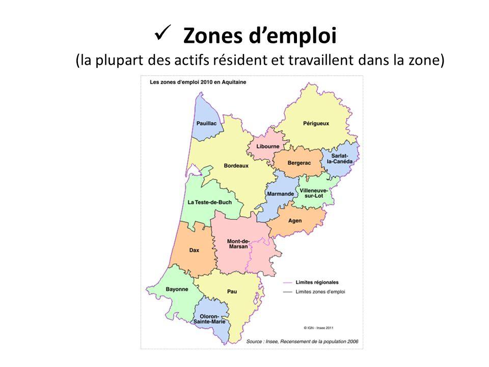 Zones d'emploi (la plupart des actifs résident et travaillent dans la zone)