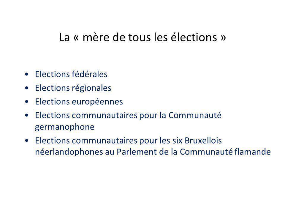 La « mère de tous les élections » Elections fédérales Elections régionales Elections européennes Elections communautaires pour la Communauté germanophone Elections communautaires pour les six Bruxellois néerlandophones au Parlement de la Communauté flamande
