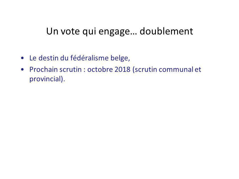 Un vote qui engage… doublement Le destin du fédéralisme belge, Prochain scrutin : octobre 2018 (scrutin communal et provincial).