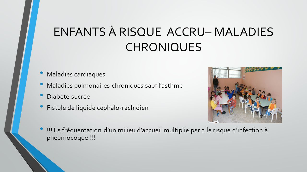 ENFANTS À RISQUE ACCRU– MALADIES CHRONIQUES Maladies cardiaques Maladies pulmonaires chroniques sauf l'asthme Diabète sucrée Fistule de liquide céphal