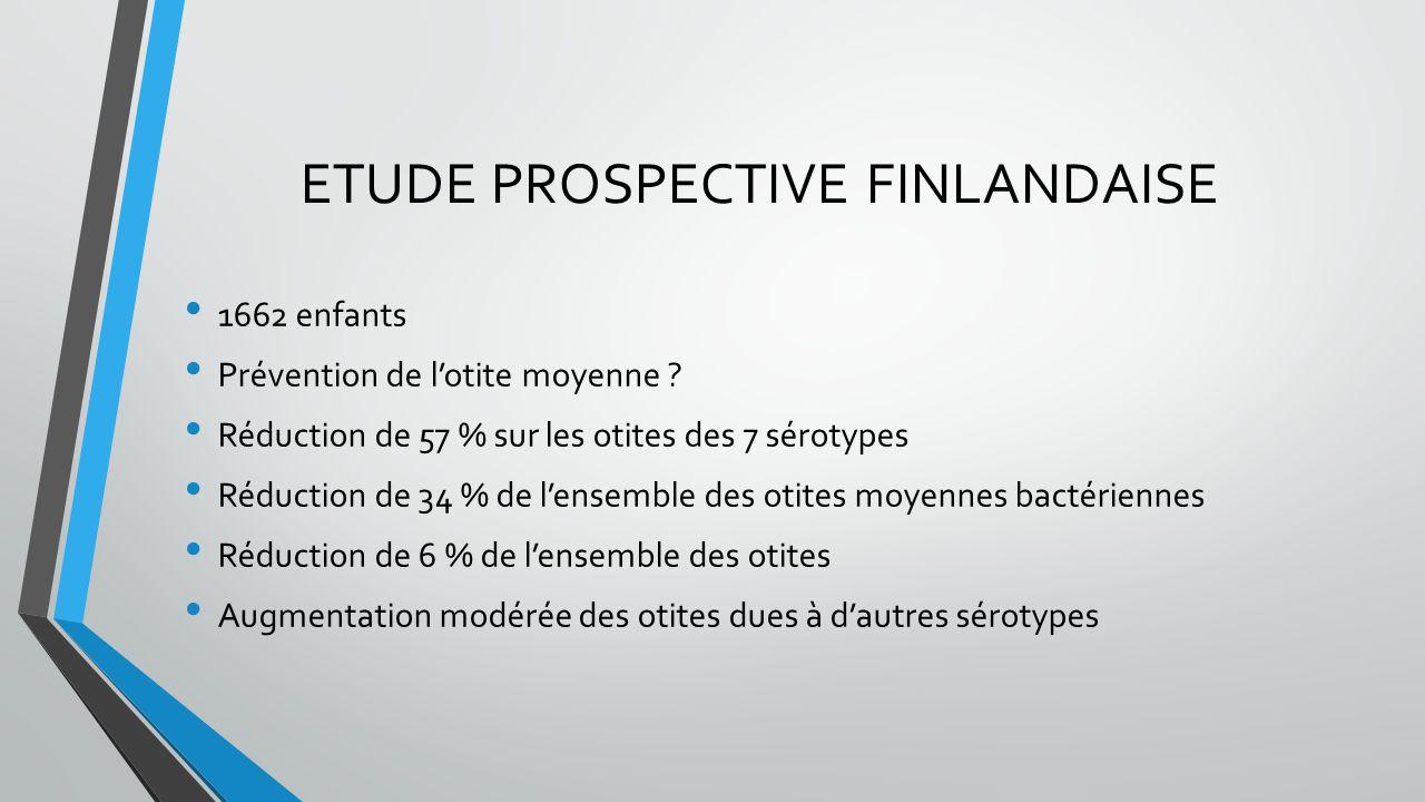 ETUDE PROSPECTIVE FINLANDAISE 1662 enfants Prévention de l'otite moyenne ? Réduction de 57 % sur les otites des 7 sérotypes Réduction de 34 % de l'ens