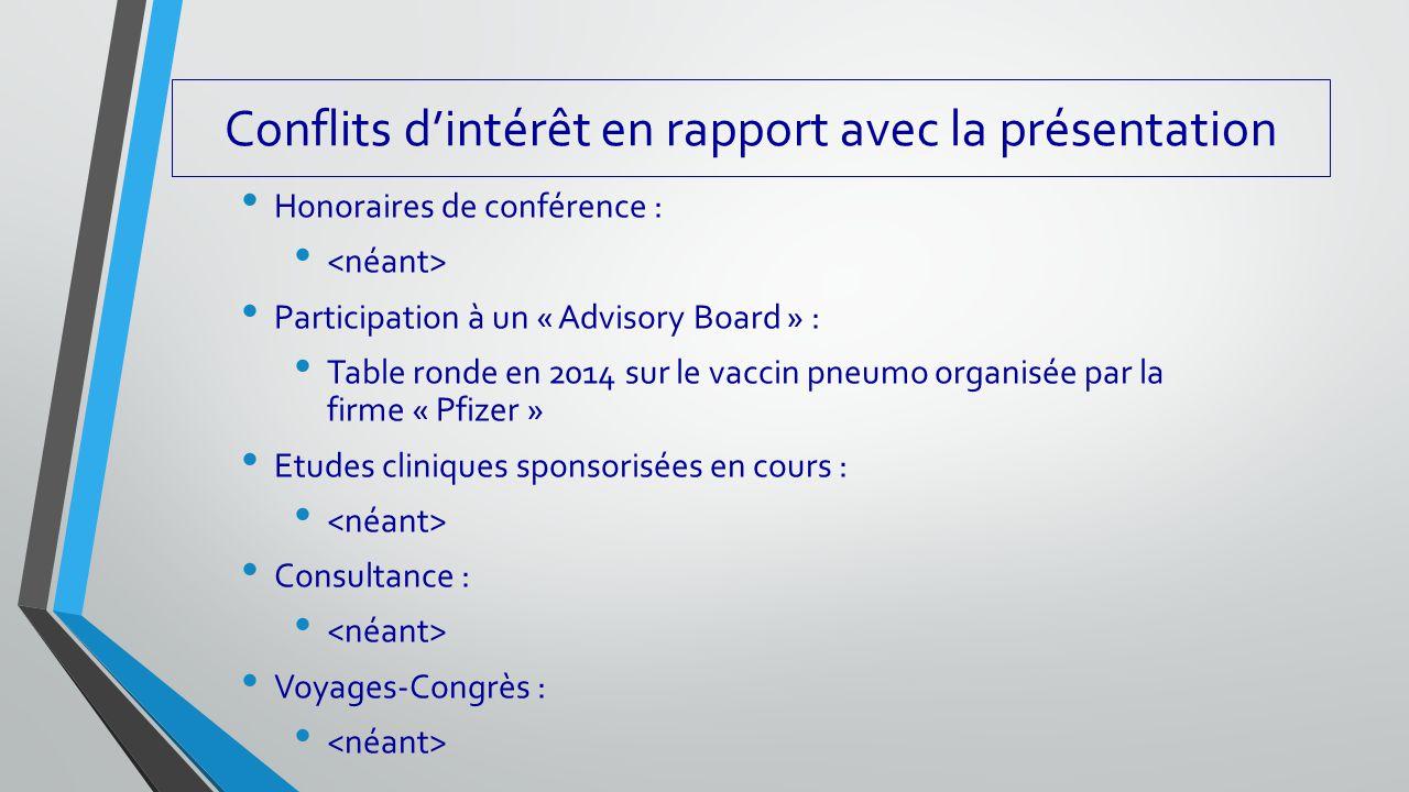 Conflits d'intérêt en rapport avec la présentation Honoraires de conférence : Participation à un « Advisory Board » : Table ronde en 2014 sur le vacci