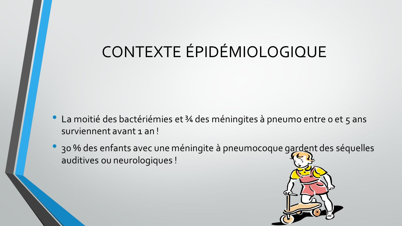 CONTEXTE ÉPIDÉMIOLOGIQUE La moitié des bactériémies et ¾ des méningites à pneumo entre 0 et 5 ans surviennent avant 1 an ! 30 % des enfants avec une m