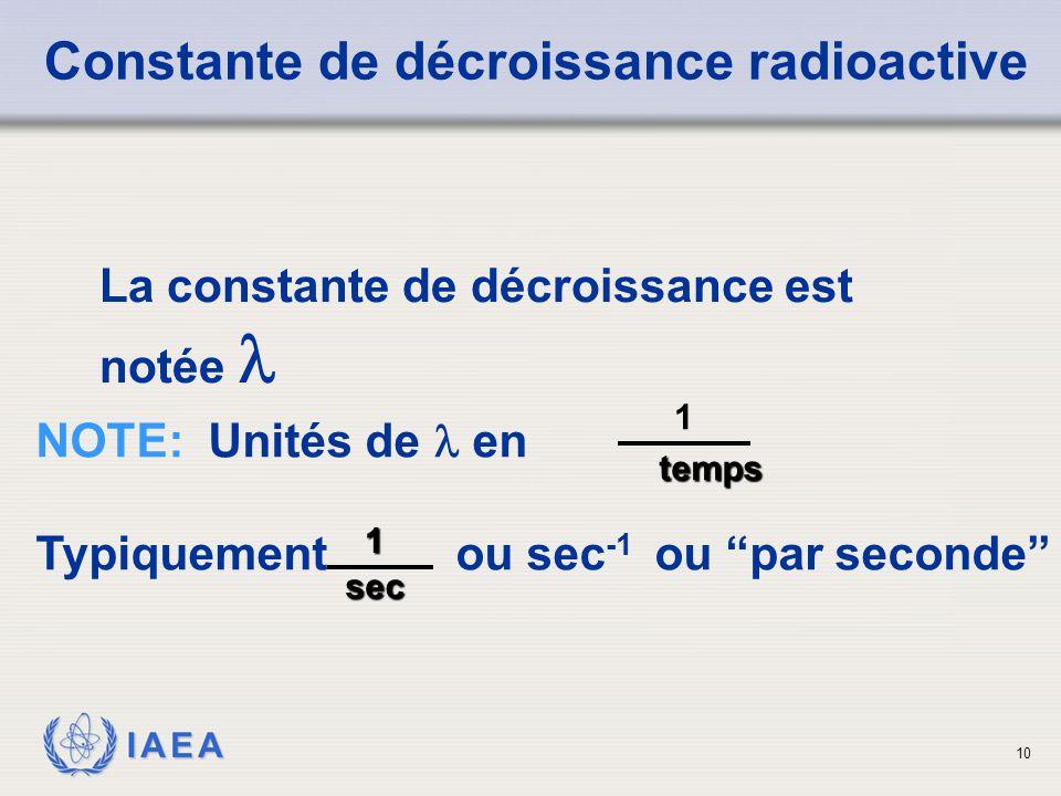 """IAEA La constante de décroissance est notée NOTE: Unités de en Typiquement ou sec -1 ou """"par seconde"""" Constante de décroissance radioactive 1temps 1se"""