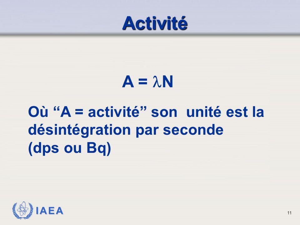 """IAEA A = N Où """"A = activité"""" son unité est la désintégration par seconde (dps ou Bq) Activité Activité 11"""
