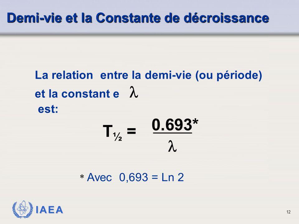 IAEA La relation entre la demi-vie (ou période) et la constant e est: Demi-vie et la Constante de décroissance T ½ = 0.693* 12 * Avec 0,693 = Ln 2