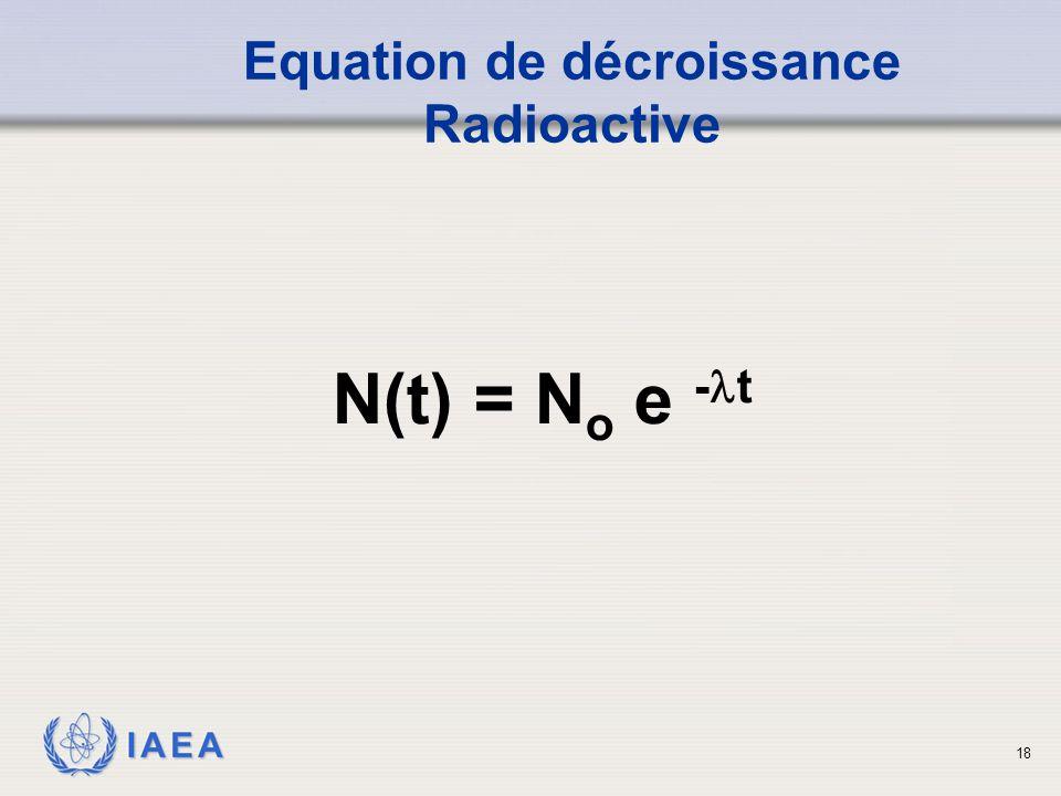 IAEA Equation de décroissance Radioactive N(t) = N o e - t 18