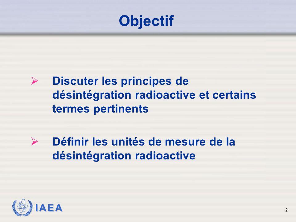 IAEA Objectif  Discuter les principes de désintégration radioactive et certains termes pertinents  Définir les unités de mesure de la désintégration