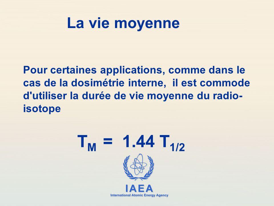 IAEA International Atomic Energy Agency La vie moyenne T M = 1.44 T 1/2 Pour certaines applications, comme dans le cas de la dosimétrie interne, il es
