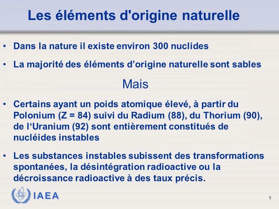 IAEA Les éléments d'origine naturelle Dans la nature il existe environ 300 nuclides La majorité des éléments d'origine naturelle sont sables Mais Cert