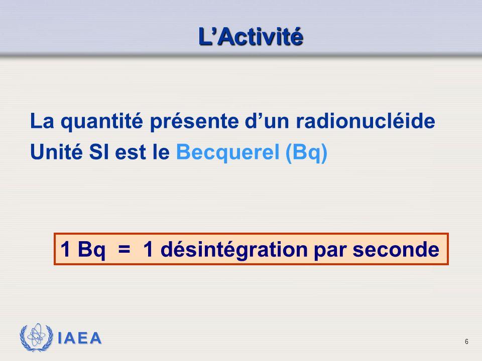 IAEA 1 Bq = 1 désintégration par seconde L'Activité La quantité présente d'un radionucléide Unité SI est le Becquerel (Bq) 6