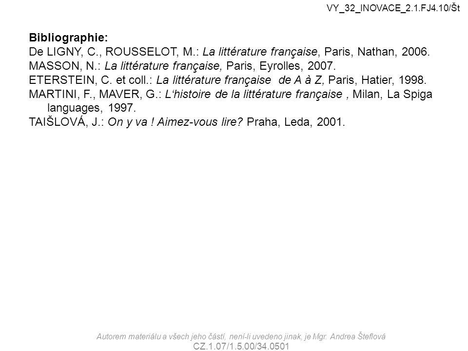 Autorem materiálu a všech jeho částí, není-li uvedeno jinak, je Mgr. Andrea Šteflová CZ.1.07/1.5.00/34.0501 Bibliographie: De LIGNY, C., ROUSSELOT, M.