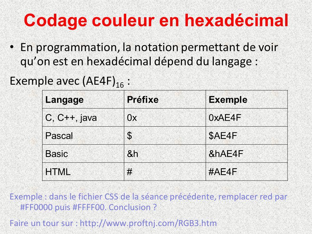 Codage couleur en hexadécimal En programmation, la notation permettant de voir qu'on est en hexadécimal dépend du langage : Exemple avec (AE4F) 16 : E