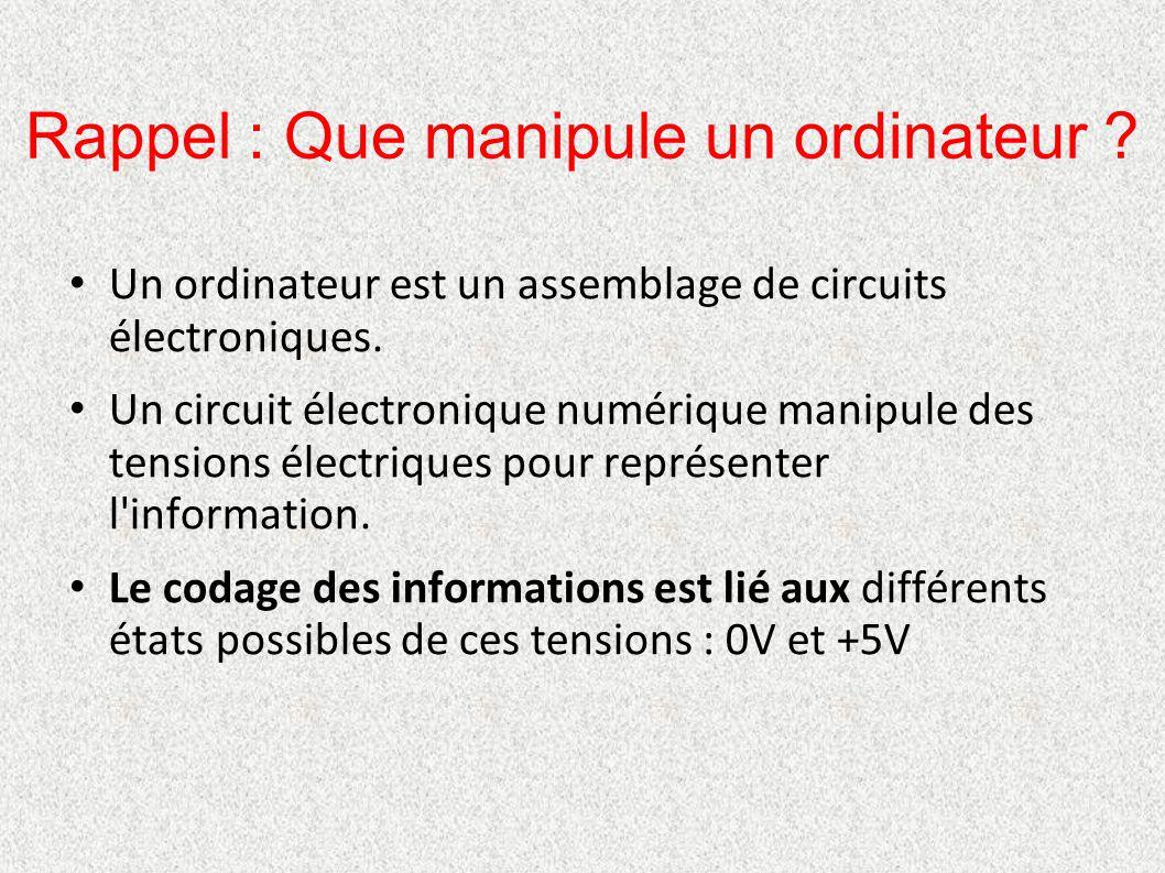 Rappel : Que manipule un ordinateur ? Un ordinateur est un assemblage de circuits électroniques. Un circuit électronique numérique manipule des tensio