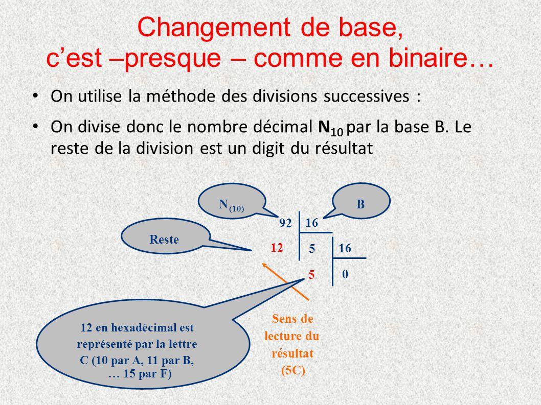 Changement de base, c'est –presque – comme en binaire… On utilise la méthode des divisions successives : On divise donc le nombre décimal N 10 par la
