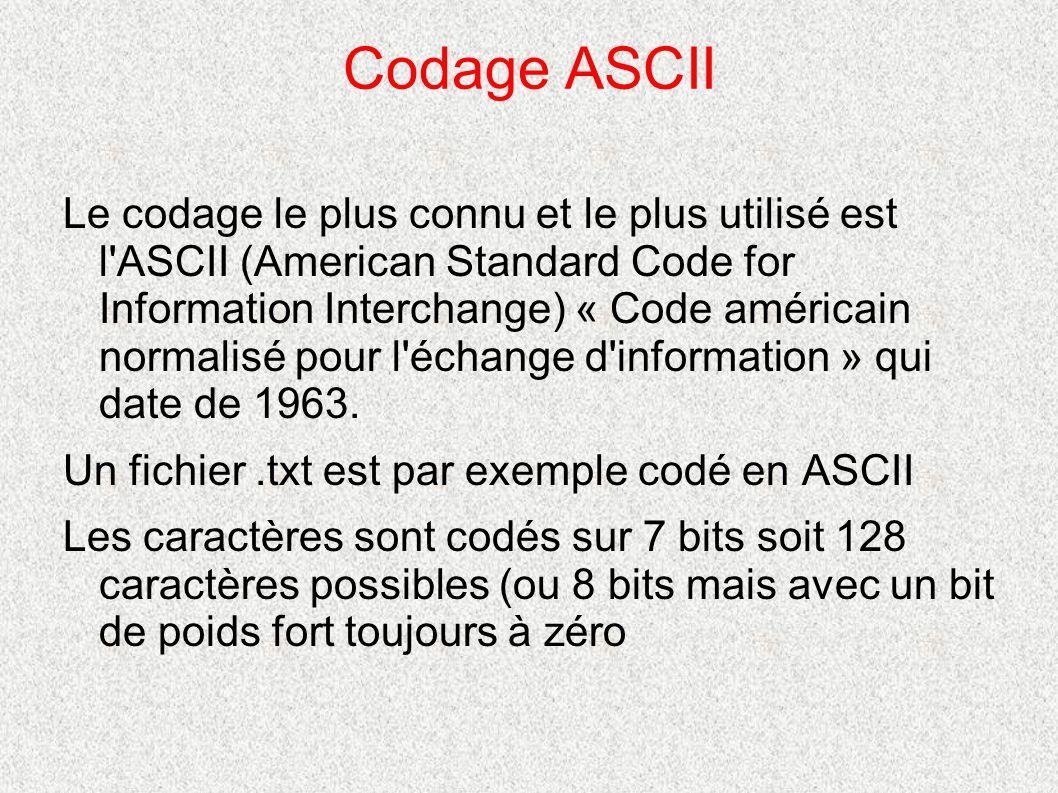 Codage ASCII Le codage le plus connu et le plus utilisé est l'ASCII (American Standard Code for Information Interchange) « Code américain normalisé po