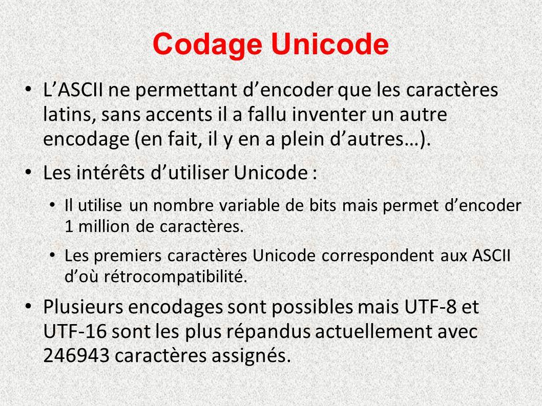 Codage Unicode L'ASCII ne permettant d'encoder que les caractères latins, sans accents il a fallu inventer un autre encodage (en fait, il y en a plein
