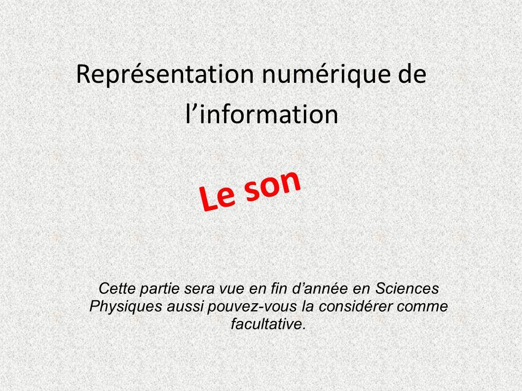 Représentation numérique de l'information Le son Cette partie sera vue en fin d'année en Sciences Physiques aussi pouvez-vous la considérer comme facu