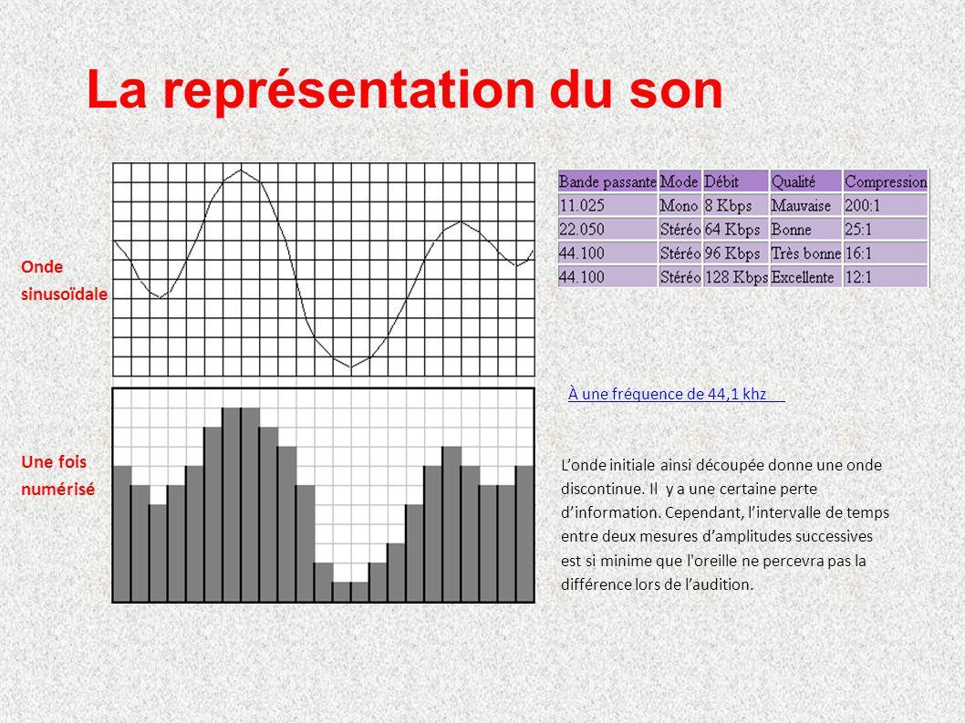 La représentation du son À une fréquence de 44,1 khz L'onde initiale ainsi découpée donne une onde discontinue. Il y a une certaine perte d'informatio
