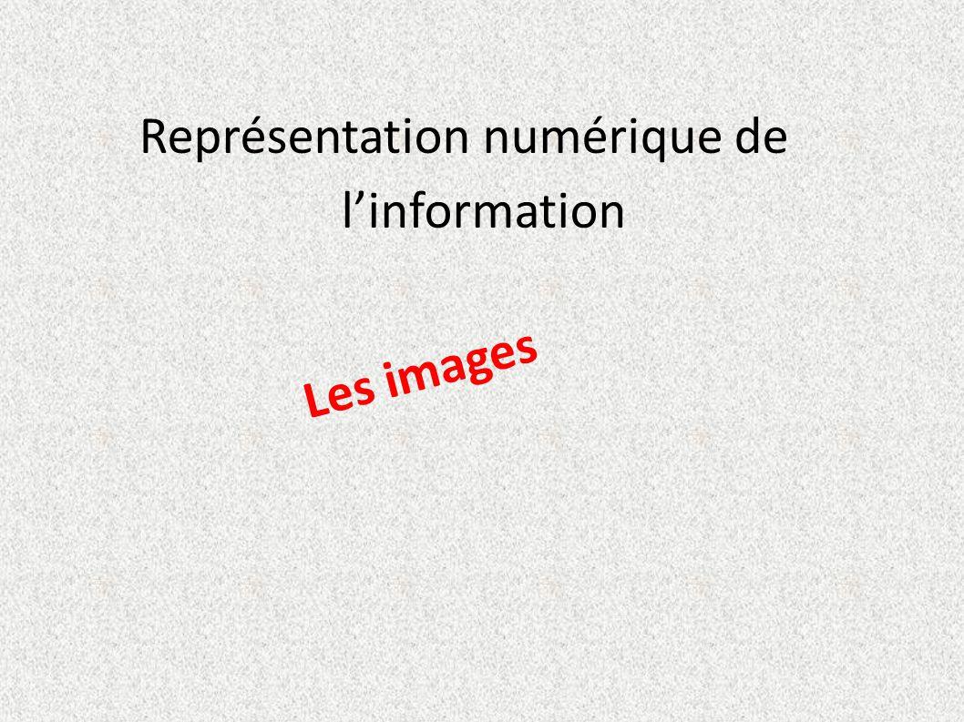 Représentation numérique de l'information Les images