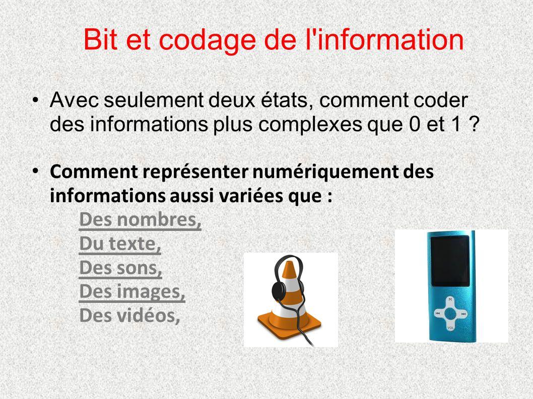 Bit et codage de l'information Avec seulement deux états, comment coder des informations plus complexes que 0 et 1 ? Comment représenter numériquement