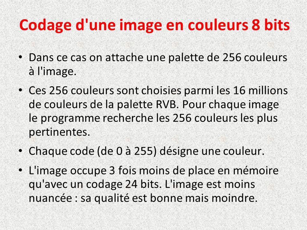 Codage d'une image en couleurs 8 bits Dans ce cas on attache une palette de 256 couleurs à l'image. Ces 256 couleurs sont choisies parmi les 16 millio
