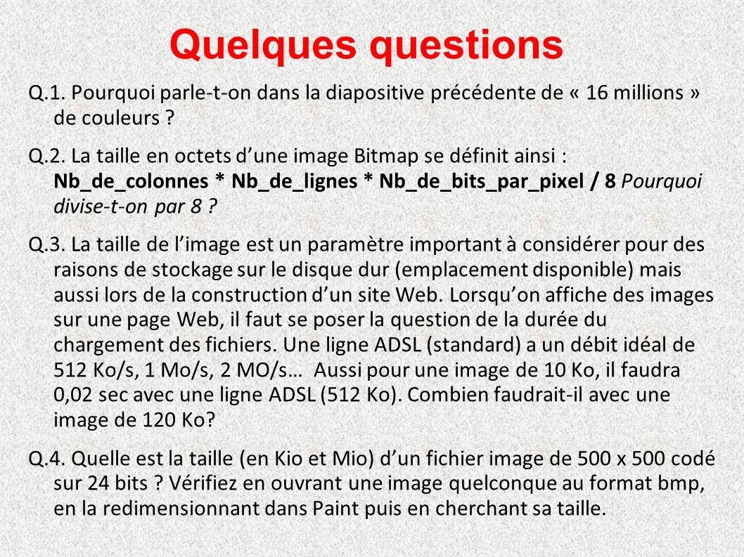 Quelques questions Q.1. Pourquoi parle-t-on dans la diapositive précédente de « 16 millions » de couleurs ? Q.2. La taille en octets d'une image Bitma