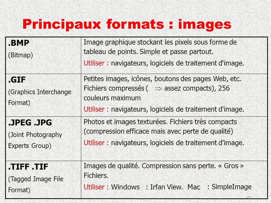 Principaux formats : images.BMP (Bitmap) Image graphique stockant les pixels sous forme de tableau de points. Simple et passe partout. Utiliser : navi
