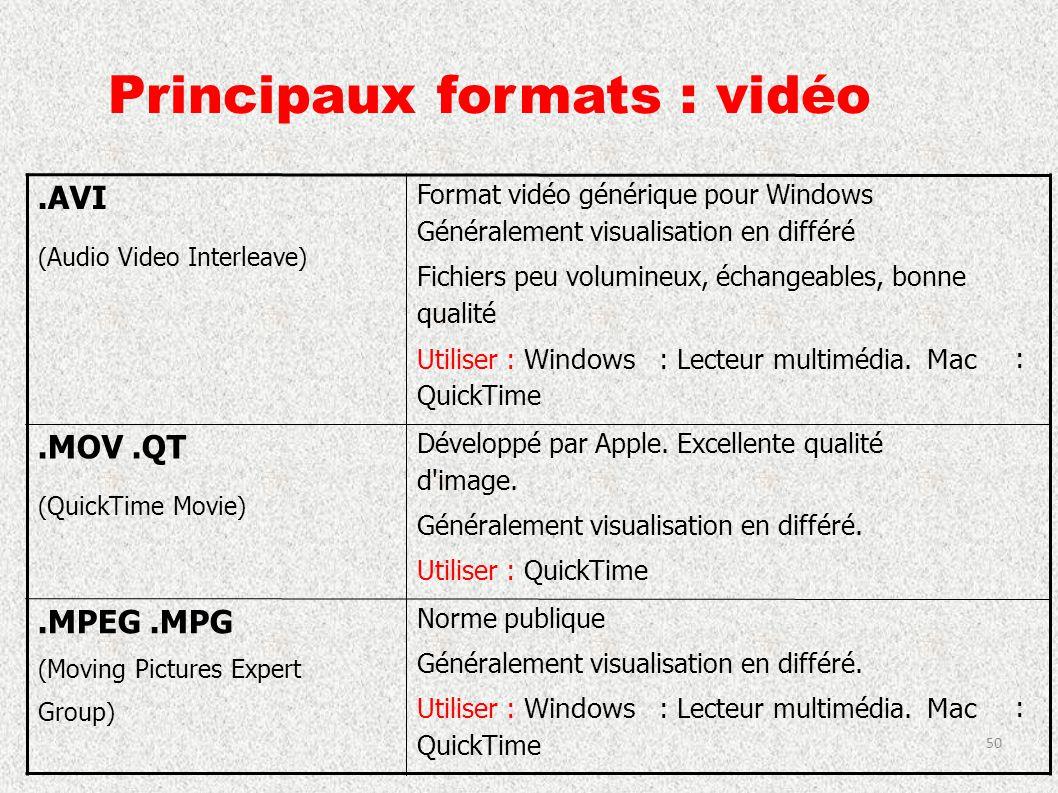 Principaux formats : vidéo.AVI ( Audio Video Interleave ) Format vidéo générique pour Windows Généralement visualisation en différé Fichiers peu volum