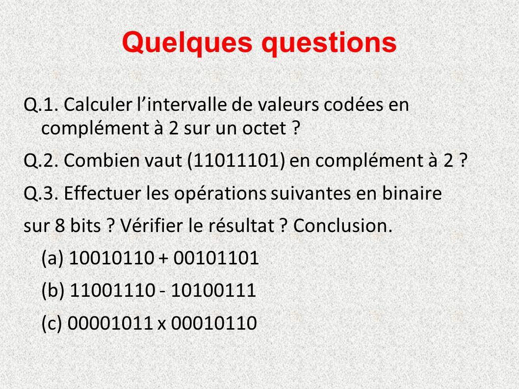 Quelques questions Q.1. Calculer l'intervalle de valeurs codées en complément à 2 sur un octet ? Q.2. Combien vaut (11011101) en complément à 2 ? Q.3.
