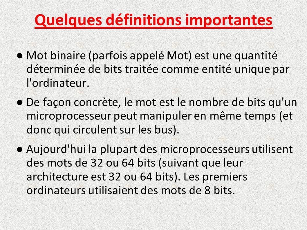 Quelques définitions importantes ● Mot binaire (parfois appelé Mot) est une quantité déterminée de bits traitée comme entité unique par l'ordinateur.