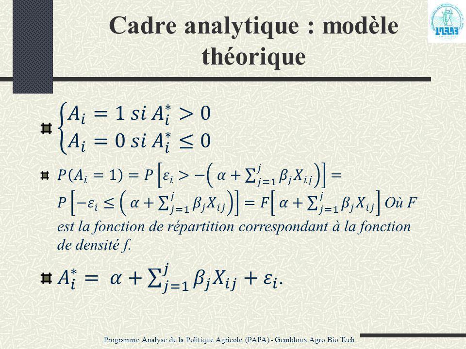 Cadre analytique : modèle théorique Programme Analyse de la Politique Agricole (PAPA) - Gembloux Agro Bio Tech