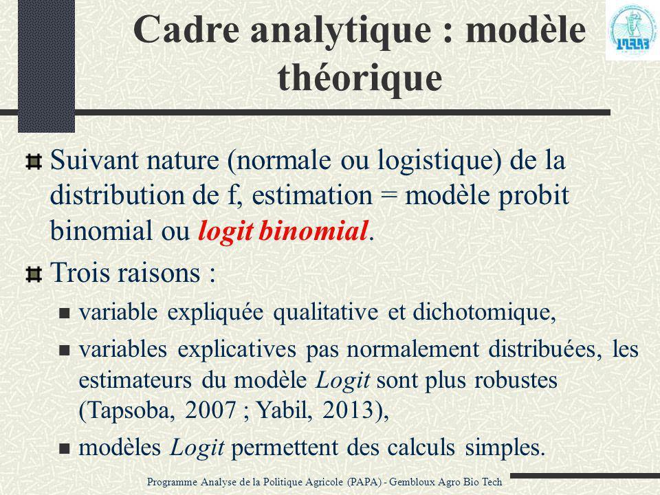 Cadre analytique : modèle théorique Suivant nature (normale ou logistique) de la distribution de f, estimation = modèle probit binomial ou logit binom