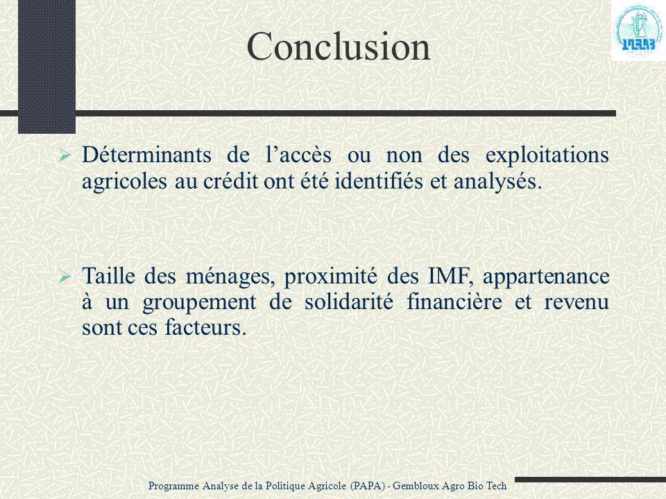 Conclusion  Déterminants de l'accès ou non des exploitations agricoles au crédit ont été identifiés et analysés.  Taille des ménages, proximité des